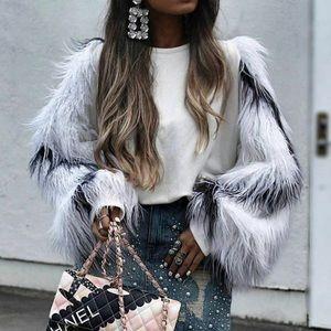 Zara Sweaters - Zara Faux Fur Sleeve Sweater